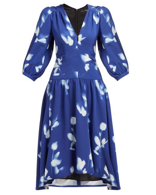 Proenza Schouler ローズプリント Vネッククレープドレス Blue