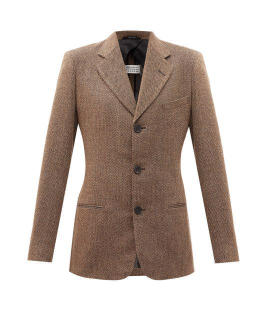 Maison Margiela ヘリンボーン シングルスーツジャケット Brown