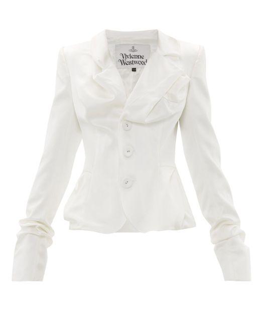 Vivienne Westwood ドレープ サテン シングルジャケット White