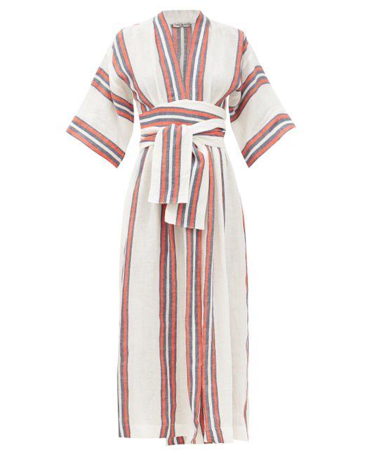 Three Graces London カリタ Vネック ストライプリネン ラップドレス Multicolor