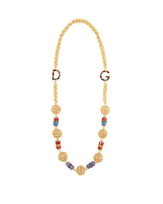 Dolce & Gabbana - Metallic Charm-embellished Chain Necklace - Lyst