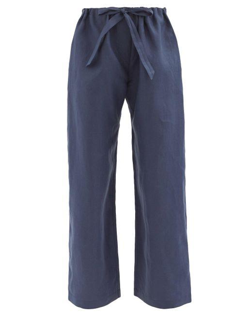 Rossell England リネン パジャマパンツ Blue