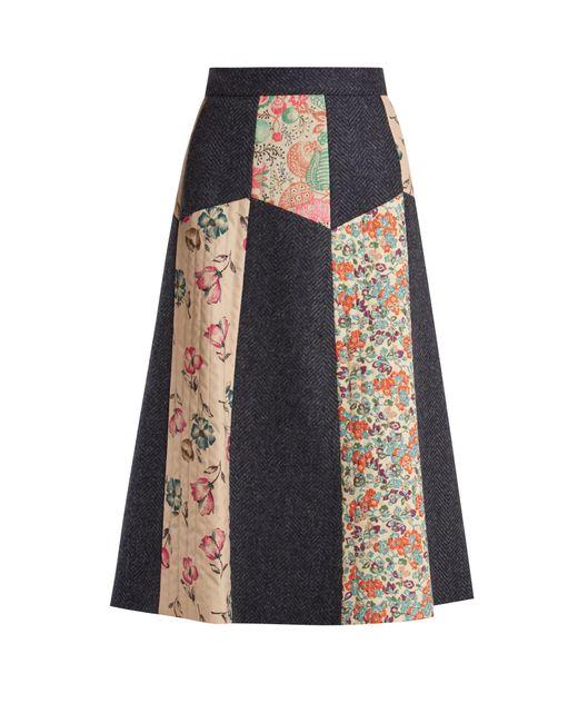 RED Valentino - Multicolor Patchwork Wool-herringbone Midi Skirt - Lyst
