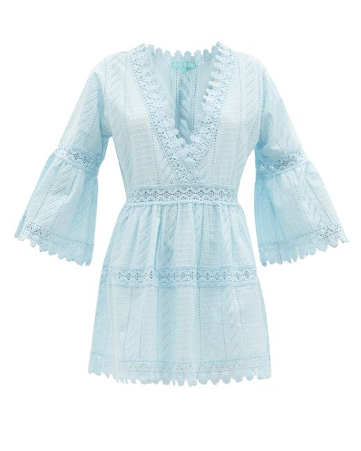 Melissa Odabash ヴィクトリア レーストリム コットンミニドレス Blue