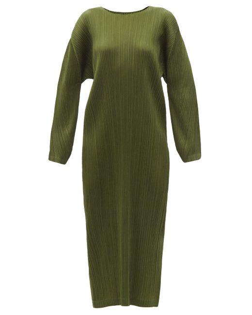 Pleats Please Issey Miyake ロングラインドレス Green