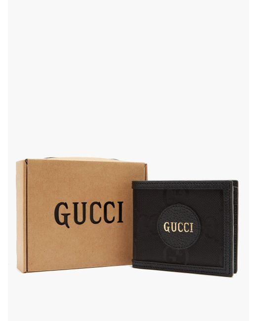 Gucci Black Logo-patch Large Gg-canvas Bifold Wallet for men