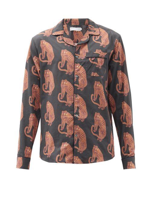 メンズ Desmond & Dempsey サンシンド タイガー コットンパジャマシャツ Multicolor