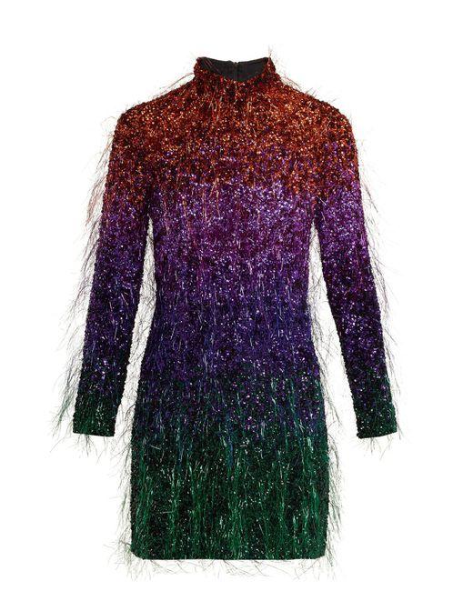 Ashish Purple Tinsel Sequin Embellished Silk Georgette Dress