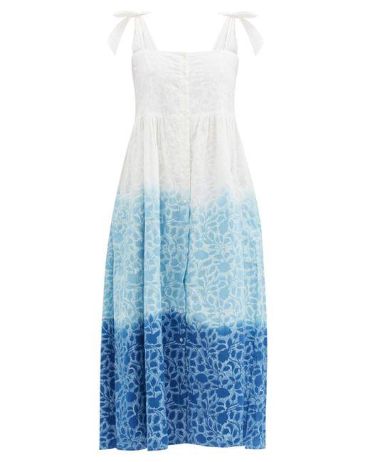 Juliet Dunn シャドー フラワー コットンボイルドレス Blue