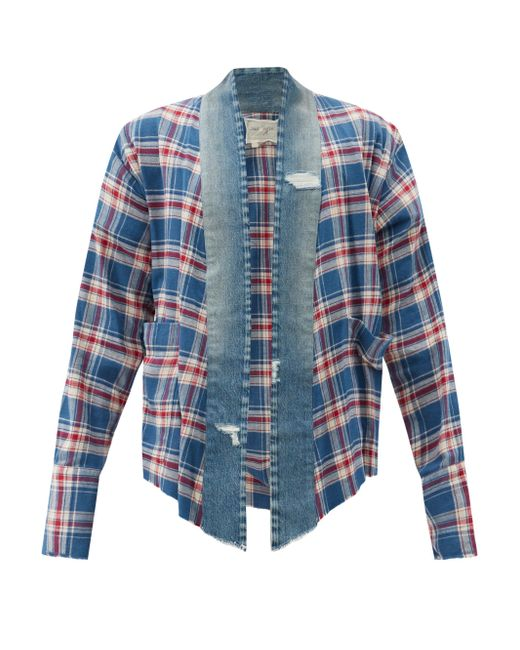 メンズ Greg Lauren Gl1 デニム&チェックコットンツイル ジャケット Blue