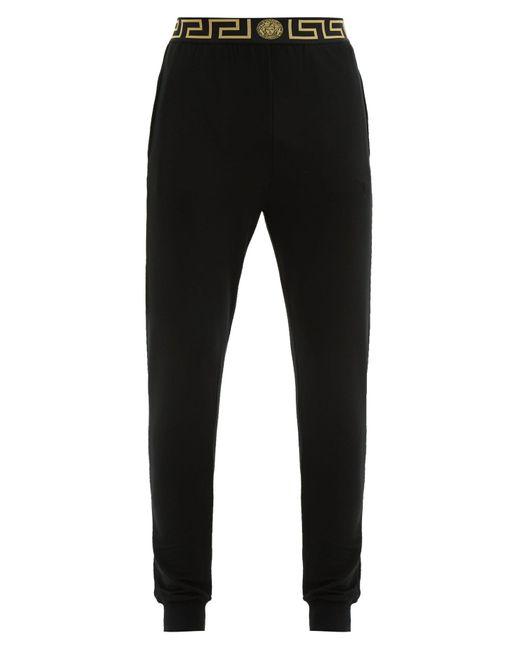 Versace Black Logo Jacquard Jersey Pyjama Trousers for men