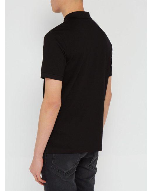 63ba2b63 Men's Black Conceptual Triangle Logo Cotton Piqué Polo T Shirt
