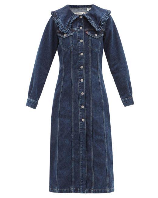Ganni X Levi's ラッフルカラー デニムシャツドレス Blue