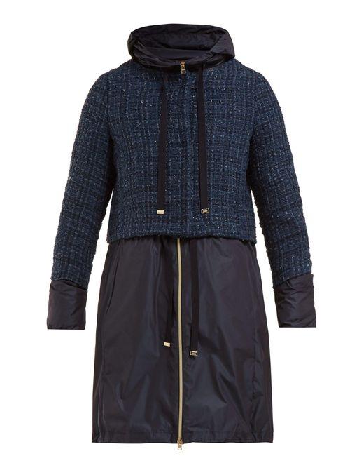 Herno - Blue Manteau double-épaisseur en tweed bouclé - Lyst
