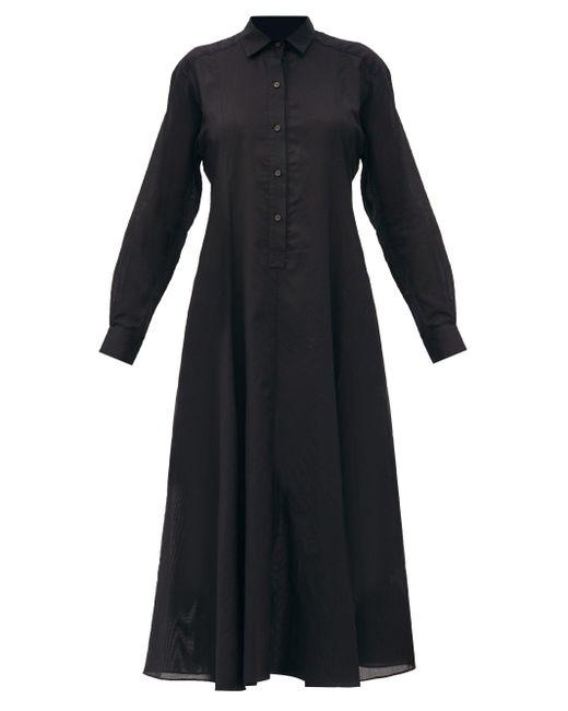 Three Graces London ファロン コットンボイル シャツドレス Black