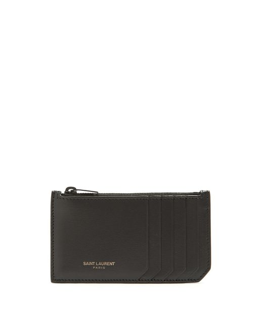 Saint Laurent - Black Leather Cardholder for Men - Lyst