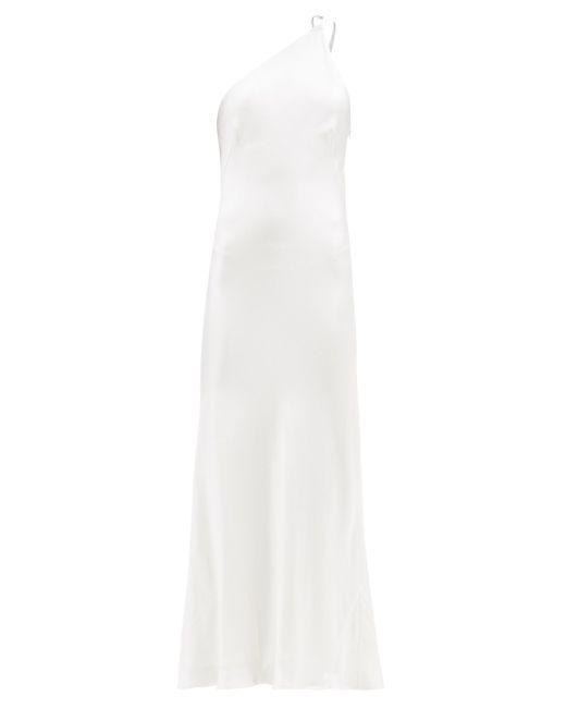 Galvan イビサ ワンショルダー シルクサテンドレス White