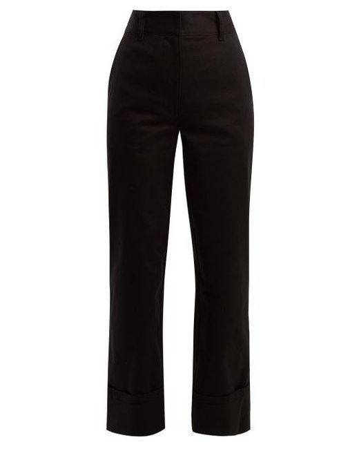 Prada - - Tailored Straight Leg Cotton Trousers - Womens - Black - Lyst