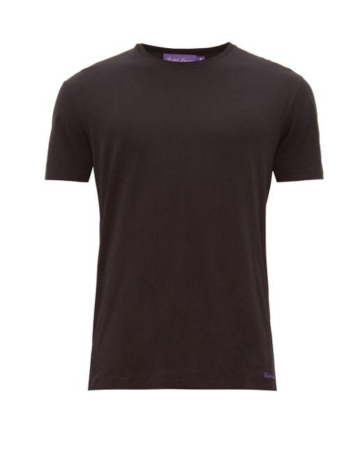 メンズ Ralph Lauren Purple Label ロゴエンブロイダリー ピマコットンライル Tシャツ Black