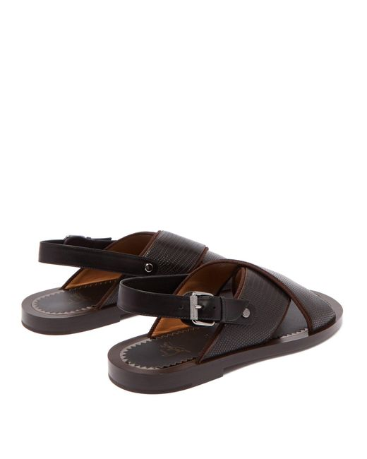 low priced 574d4 39b1e Men's Brown Elba Lizard Effect Leather Sandals
