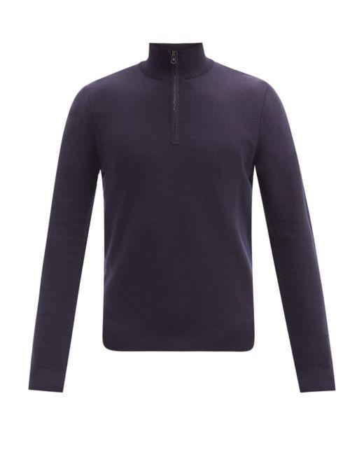 メンズ Ralph Lauren Purple Label シードステッチ ジップネック ウールセーター Blue