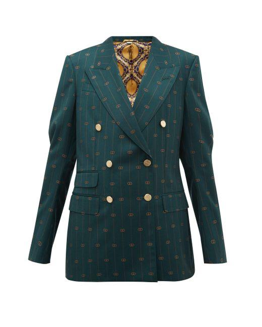 Gucci GG ピンストライプ ウールツイル ダブルジャケット Green