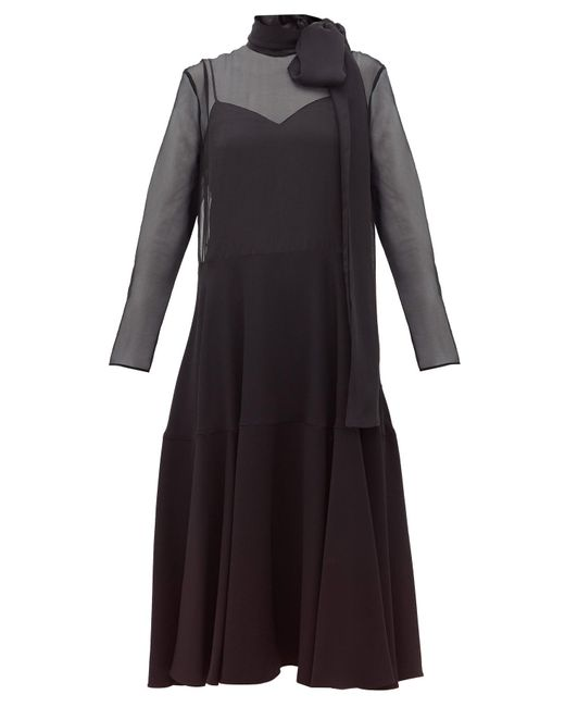 Valentino Black Pussy Bow Silk Organza And Cady Dress