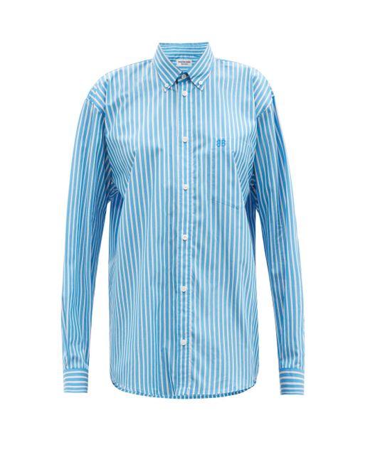 Balenciaga ストライプ コットンツイルシャツ Blue