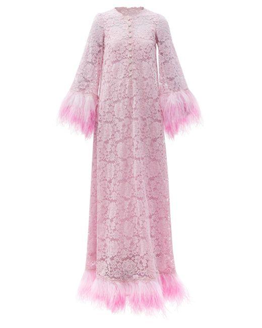Dolce & Gabbana フェザートリム レースドレス Pink