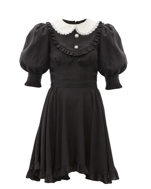 Alessandra Rich ラッフル シルククレープドレス Black