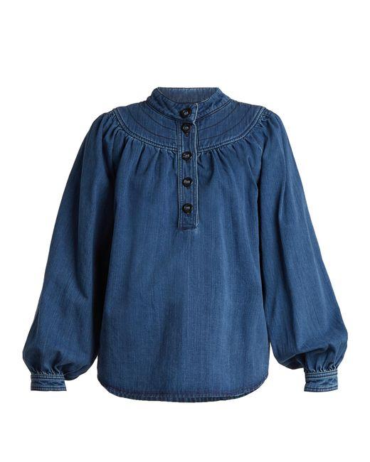 Chloé | Blue Long-sleeved Gathered-yoke Denim Shirt | Lyst