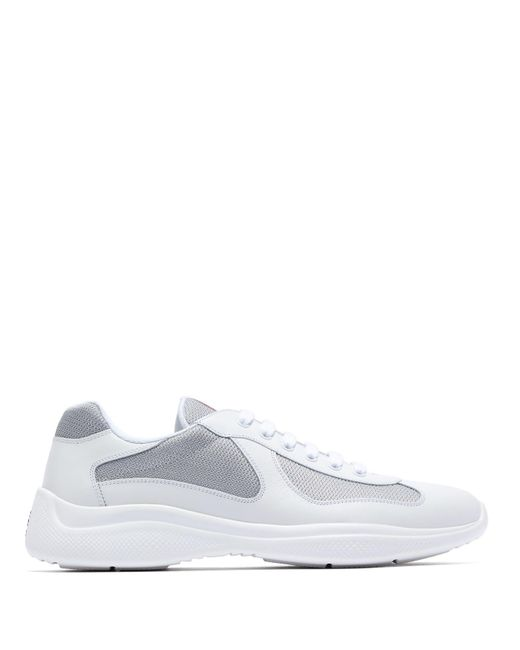 90716d5084666 Prada - White America's Cup Leather And Silver Mesh Trainers for Men ...