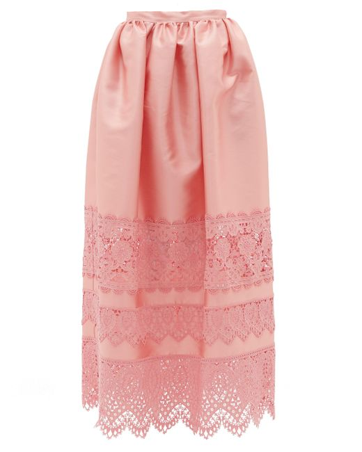 Erdem ジェニファー レーストリムスカート Pink