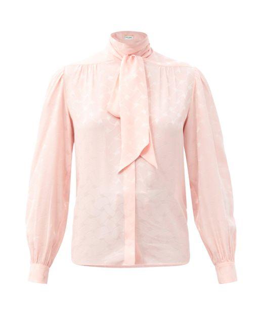 Saint Laurent タイネック シルクジャカードブラウス Pink