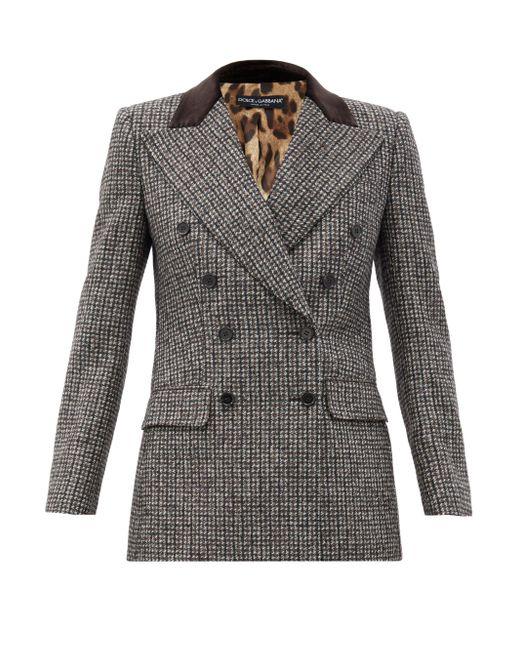 Dolce & Gabbana ベルベットカラー ウールブレンド ダブルジャケット Gray