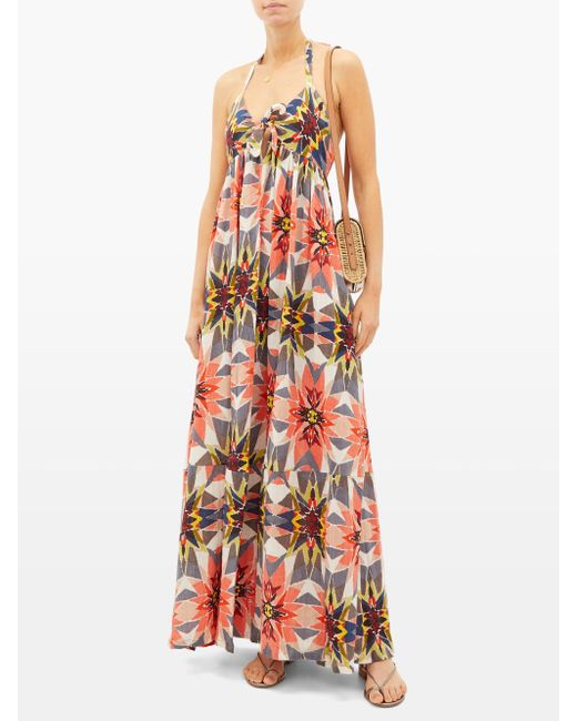 Robe longue dos nu en coton imprimé Coralie Le Sirenuse en coloris Multicolor