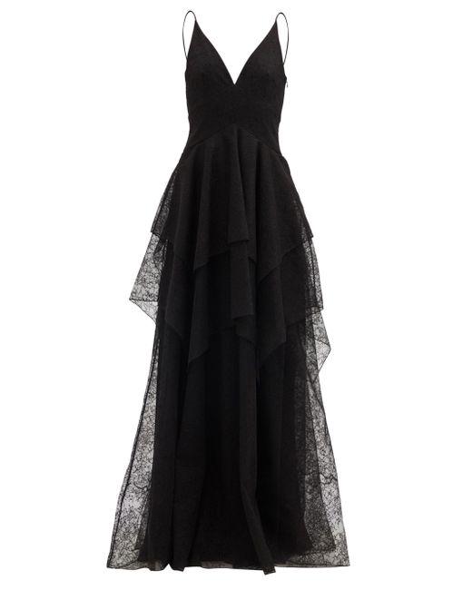 Givenchy ティアード シャンティリーレースドレス Black