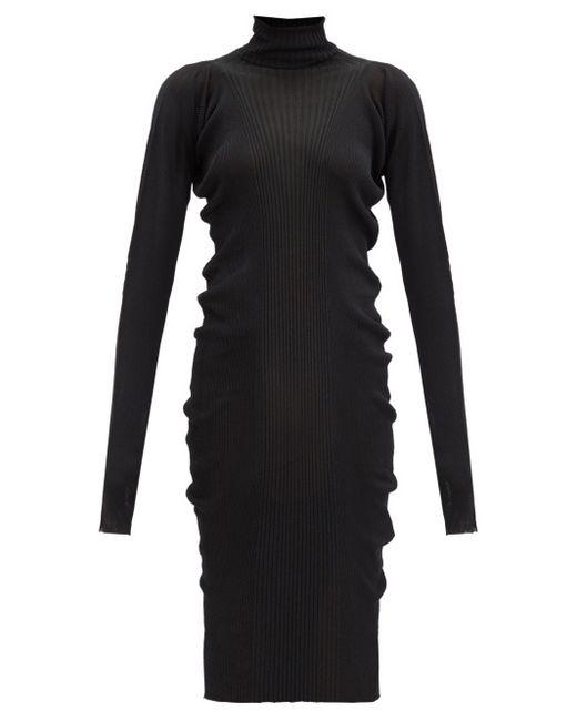 Bottega Veneta タートルネック コットンシルクリブニットドレス Black