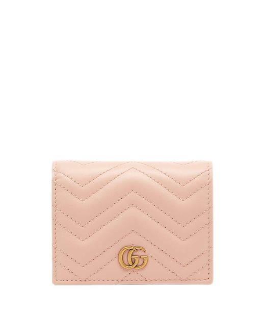 Gucci Pink Marmont Quilted-leather Bi-fold Wallet