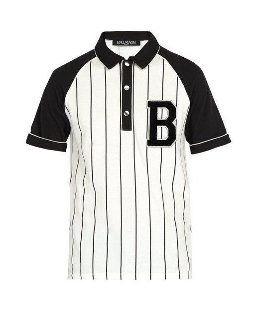 04086140f668 Balmain Striped Cotton Piqué Polo Shirt in White for Men - Save ...