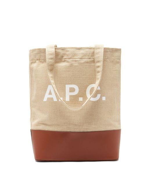 メンズ A.P.C. アクセラ キャンバス&レザートートバッグ Natural