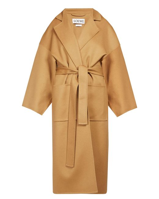 Loewe Natural Piacenza Oversized Belted Wool Blend Coat