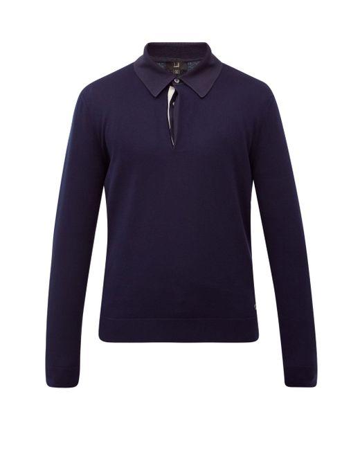 メンズ Dunhill ロングスリーブ コットンポロシャツ Blue