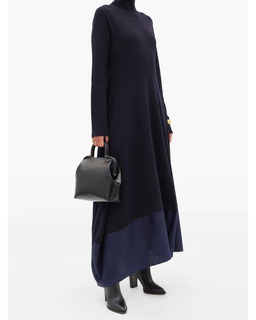 Jil Sander Black Logo-debossed Medium Top-handle Leather Handbag