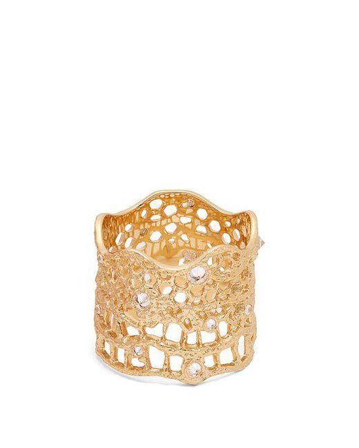 Aurelie Bidermann - Metallic Diamond, Aquamarine & Yellow-gold Ring - Lyst