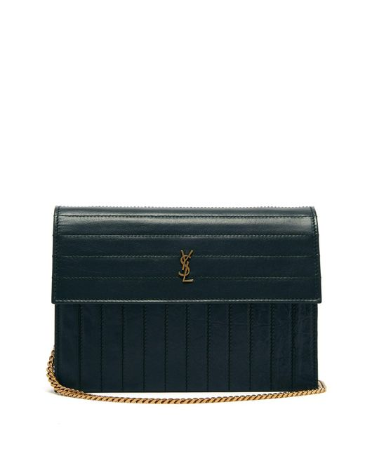 Saint Laurent Green Victoire Mini Quilted Leather Cross Body Bag