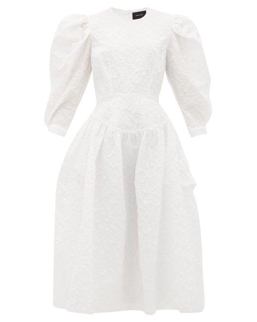 Simone Rocha パフスリーブ クロッケドレス White