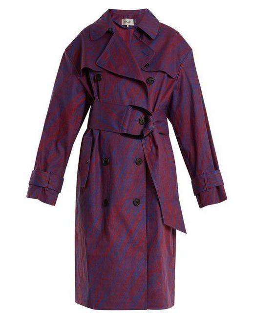 Diane von Furstenberg - Purple Visconti-print Cotton-blend Trench Coat - Lyst