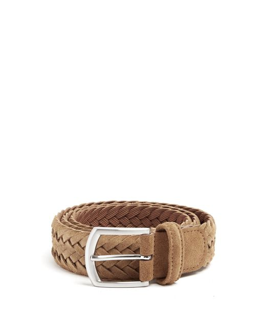 Lyst Andersons Woven Suede Belt In Brown For Men
