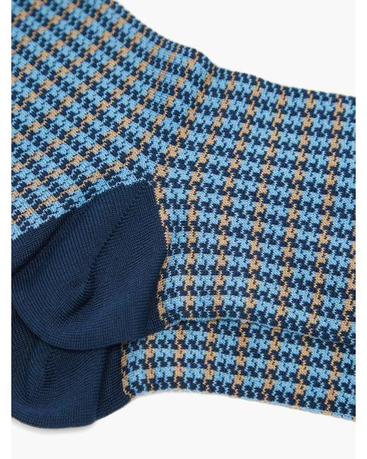 メンズ London Sock Company Shaken & Stirred チェックコットンブレンドソックス Blue
